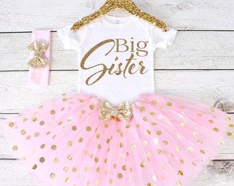 Big Sister Outfit. Big Sister Shirt. Big Sister. Big Sister Tutu Outfit. S43. PGA (LIGHT PINK)