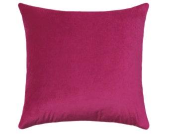 Hot Pink Pillow Cover, Velvet Throw Pillow, Magenta Pillow, Pink Pillow, Velvet Pillow, Solid Orchid Throw Pillow, Obsession Magenta Cover