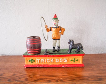 Cast Iron Vintage Clown and Puppy Circus Bank