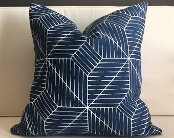 Outdoor Pillow Cover, Blue and White Modern Pillow Cover, SAN JOSE