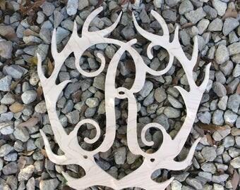 Deer Antler Wood Monogram with Initial for Door