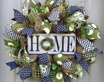 Home Rustic Burlap Deco Mesh Wreath, Welcome Wreath