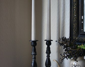 Pair of Black Painted Candlesticks