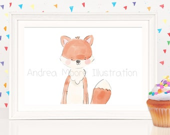 Little Fox-Print on Watercolor Paper