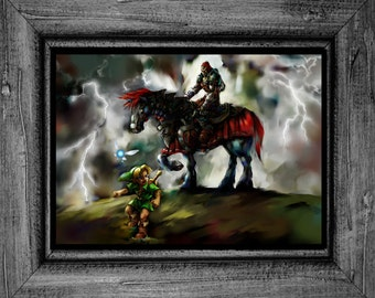 Legend of Zelda Ocarina of Time Link Ganondorf Art Print Poster