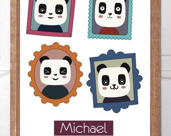 Personalised Childrens Wall Art Panda Snaps Series