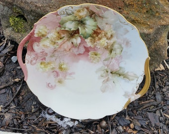 Vintage Tressemanes & Vogt Cake plate, Pink And White Roses, Hand Painted Signed Heykacy( B )
