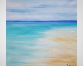 Abstract beach painting Beach art Seascape oil painting Abstract seascape painting Water art Beach art work Carribean art Original art 14x14