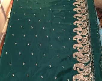 Green Satin Sari, Beautiful Dark GREEN and Gold Satin Saree, Dark Forest Green Green sari, Gorgeous fabric