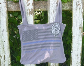 Support Police Tee Shirt Tote Bag Green Eco Friendy Reuseable Cotton Shopping Bag