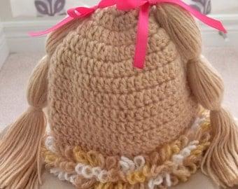 Crochet Cabbage Patch Pigtails Hat