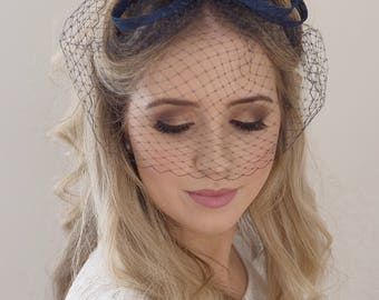 Birdcage Veil- Bridal Headpiece- Navy Fascinator- Navy Wedding Headpiece- Birdcage Headpiece