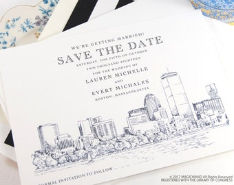 Boston Wedding, Boston Save the Date Cards, Save the Dates, Boston Skyline, Hand Drawn (set of 25 cards & envelopes)
