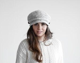 Vintage newsboy hat with brim, womens newsboy cap, vintage look cap, womens hat MP026