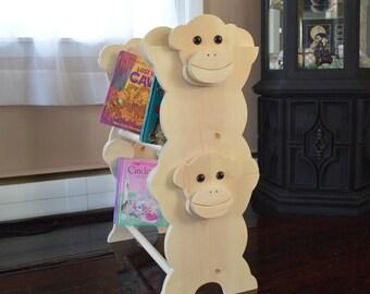 Stackable Monkey Bookshelf / kids furniture / Kid's Bookshelf / Monkey Bookshelf / Kid's Bookcase / Stackable Bookcase / Monkey Decor