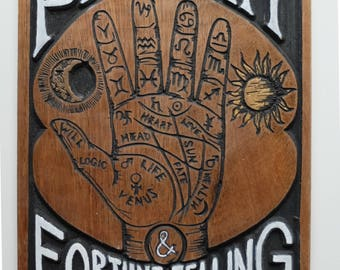 Vintage speakeasy Palmistry & Fortune Telling handmade sign wall hanging on reclaimed wood