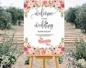 Printable Pink Wedding Welcome Sign Templates - Custom Wedding Sign, Floral Wedding Large Poster 24x36 inch, DIY PDF Instant Download #102