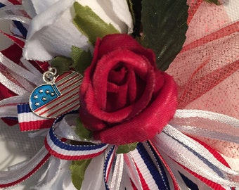 Patriotic, Red, White And Blue Corsage, Memorial Day, 4th of July, Independence Day Parade Corsage