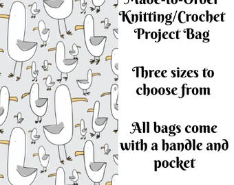 Knitting Project Bag, Gulls, Sock Knitting, Zippered Bag, Crochet Bag, Sweater Project Bag, Large Bag, Birds
