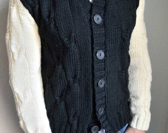 Hand knitted men's cardigan