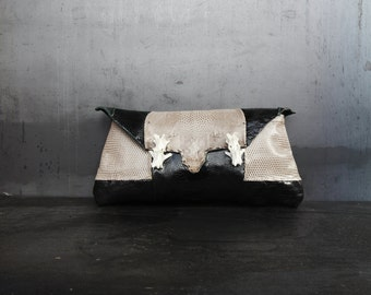 Lizard and ostrich leather clutch (Bell rock)