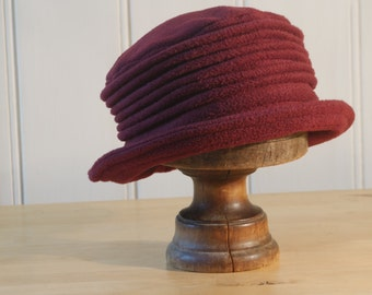 burgundy wine cloche fleece hat
