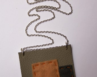 Grey and orange square pendant necklace