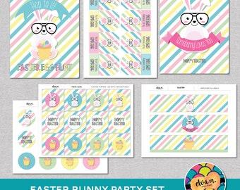 SALE: Easter Bunny Party Set. Cupcake Toppers, Signs, Easter Egg Hunt Sign, Favor Tags. DIGITAL DOWNLOAD*