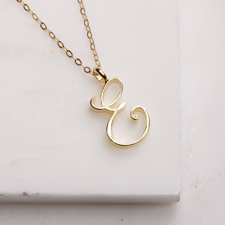 E Initial Necklace Cursive E initial gold