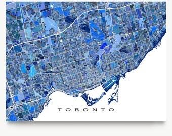 Toronto Map Print, Toronto Canada, Toronto Art, Ontario, Blue