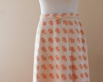 Allure Montreal 1960's Vintage A Line Peach/Orange Floral Skirt Size Small Union Label Made in Canada BTK-050