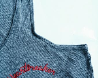 Hand Embroidered Top | Tank Top | Made to Order | Heartbreaker | Vintage | Upcycle | Sustainable | One of a Kind | Festival Fashion | 90s