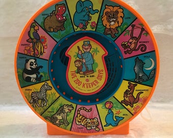 "Vintage 1983 Mattel See 'N Say ""The Zoo Keeper Says,"" Zoo Animals Zookeeper See N Say With Pull String - Talking Retro Toy - Works Great!-"