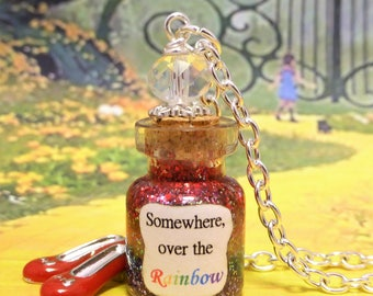 Somewhere Over the Rainbow Necklace Wizard of Oz Bottle Pendant Charm Jewelry Wicked Dorothy Ruby Shoes Slippers ~ Costume Jewellery