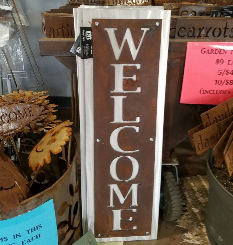Vertical Welcome Sign Rustic Layered Metal Welcome Sign