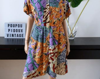 robe 90'S TOGETHER multicolore taille 42/44 / size uk 14/16 / US 10/12