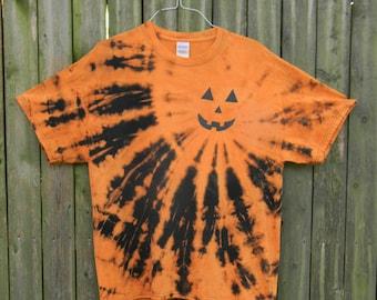 Black and Orange Jack-O-Lantern Tie Dye T-Shirt (XL)
