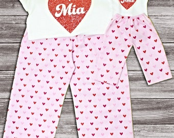 Size 14 XLarge Matching Girl and Doll Clothes. Matching Valentine Heart Pajama Set for Girl and Doll. 18 Inch Doll Clothes.Sumber Party