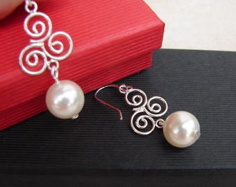 Boucles d'oreilles Earring Swarovski pearls Sterling silver 925