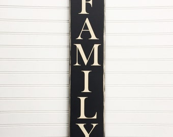 Vertical Family Wood Sign, Custom Family Decor