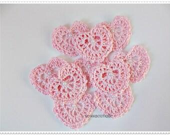Crochet Applique, Pink Crochet heart, Motif heart,craft supplies, Embellishment, scrapbooking, Heart Applique, wedding decorations