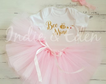 Valentine tutu baby Bee Mine girls first headband babysuit birthday pink glitter personalised one set photo prop cake smash