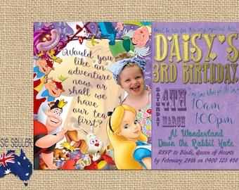 Printable Alice in Wonderland Invitation Customisable Personlised Tea Party