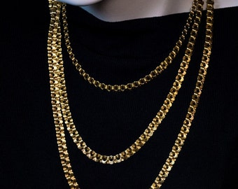 Antique Russian Gold Flat Link Chain Necklace