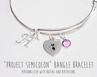 Semicolon Bracelet, Semicolon Gifts, Semicolon Project, Personalized Semi Colon Bracelet, Semicolon Jewelry, Semi Colon Jewelry, Semi Colon