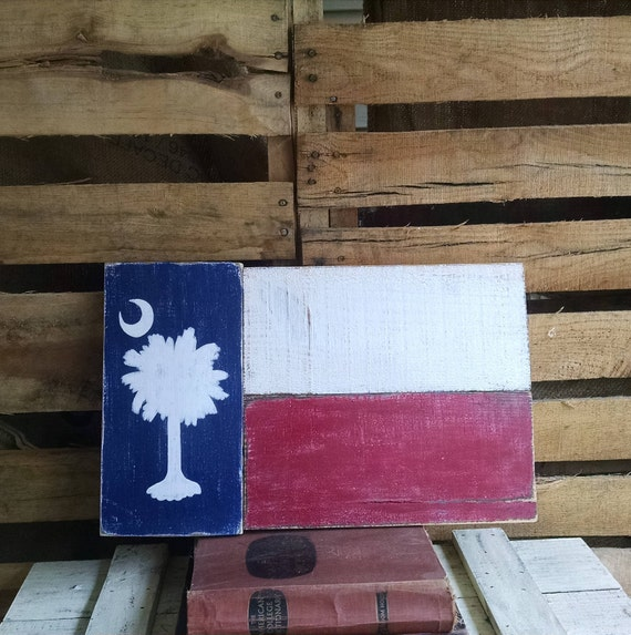 South Carolina Rustic Flag Sign Front Porch Decor Outside