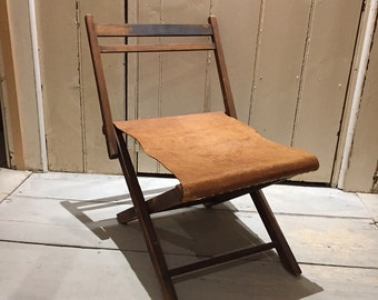 Rare Funky Retro Vintage Folding Wood And Leather Camping Chair With Back Rest Handmade FREE POSTAGE