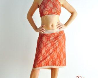 Dark orange lace skirt and top set for tango, salsa, latin dance, summer dress