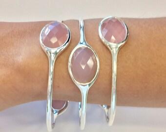 Gemstone Bangle - Pink Chalcedony - Pink Quartz Bangle