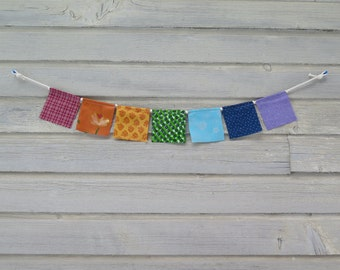 Small Prayer Flags, Playroom Decor, Fabric Bunting Banner, Hippie Decor, Upcycled, Wall Decor, Photo Prop, Chakra Flags, Rainbow, LGBT Pride
